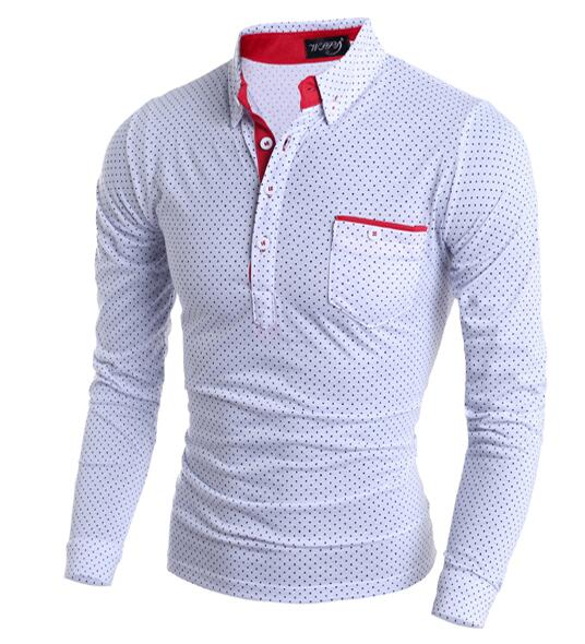 Fashion Slim Polka Dot Pocket Mens Polo Shirt