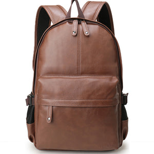 Preppy Casual Style Leather Backpack Bag For Men