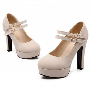 Sexy Buckle Lady Platform Court Pumps