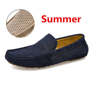 New Casual Suede Leather Moccasins Plush Men Loafers