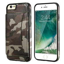 Load image into Gallery viewer, Military Stand Holder Camouflage Leather Back Cover For iPhone