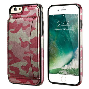 Military Stand Holder Camouflage Leather Back Cover For iPhone
