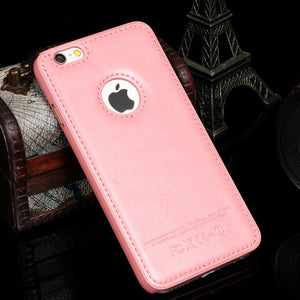 Vintage Hard PC + Leather Back Cover For iPhone