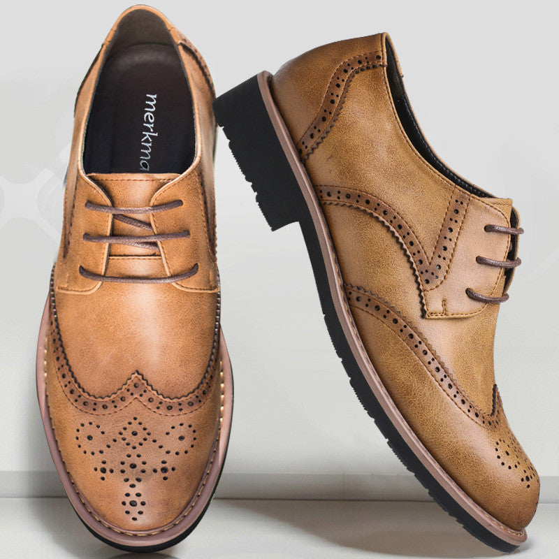 compare price street price great discount for Retro Genuine Leather Brogue Men Dress Shoes