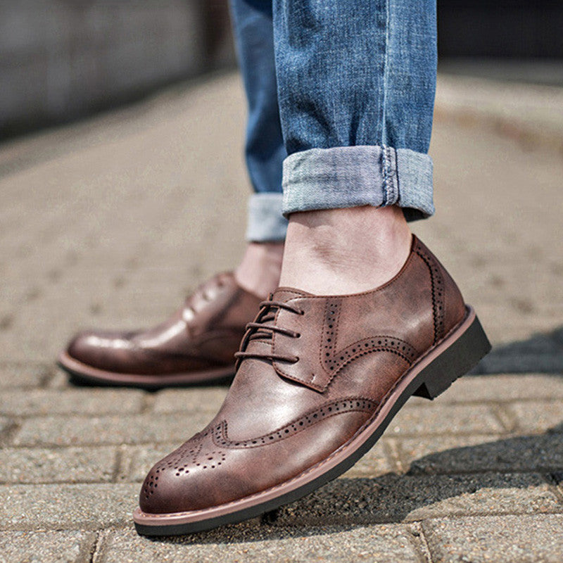 Retro Genuine Leather Brogue Men Dress Shoes Catcas