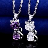 Cubic Zirconia Cat Necklace