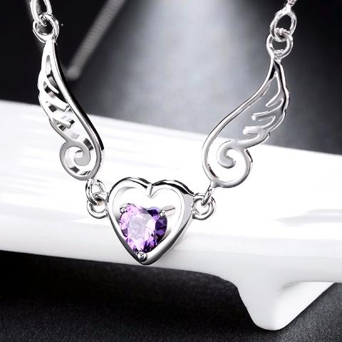 Angel Wing Amethyst Heart Necklace