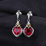 Red Ruby Heart Earrings
