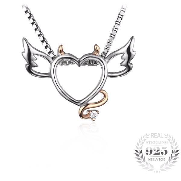 Devil Heart With Angel Wings Necklace