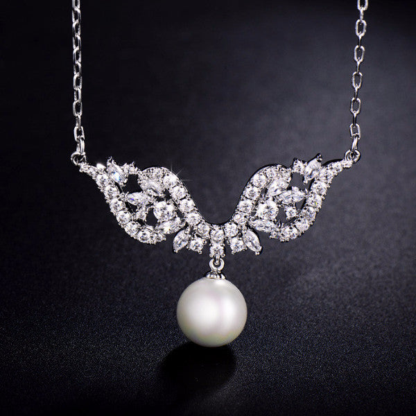 Angel Wings With Pearl Pendant Necklace