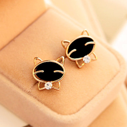 Black Smile Cat Earrings