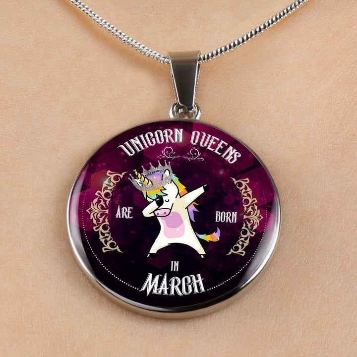Unicorn Queens Engraved Necklace Or Bangle Circle Shape (March)