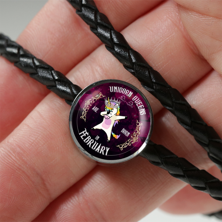 Unicorn Queens Engraved Real-Leather Charm Bracelet (February)