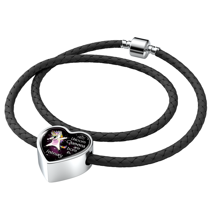 Unicorn Queens Engraved Real-Leather Love Charm Bracelet (February)