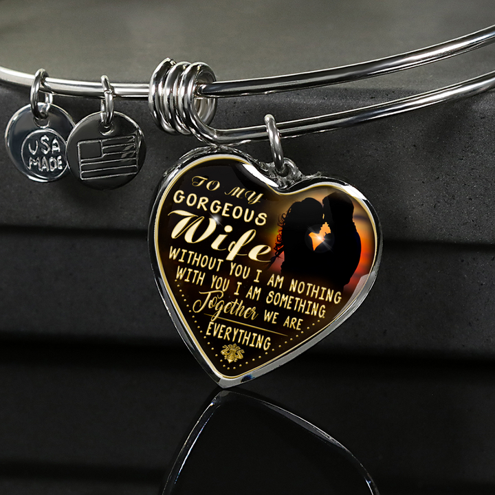 My Gorgeous Wife Engraved Necklace or Bangle (Gold Text)