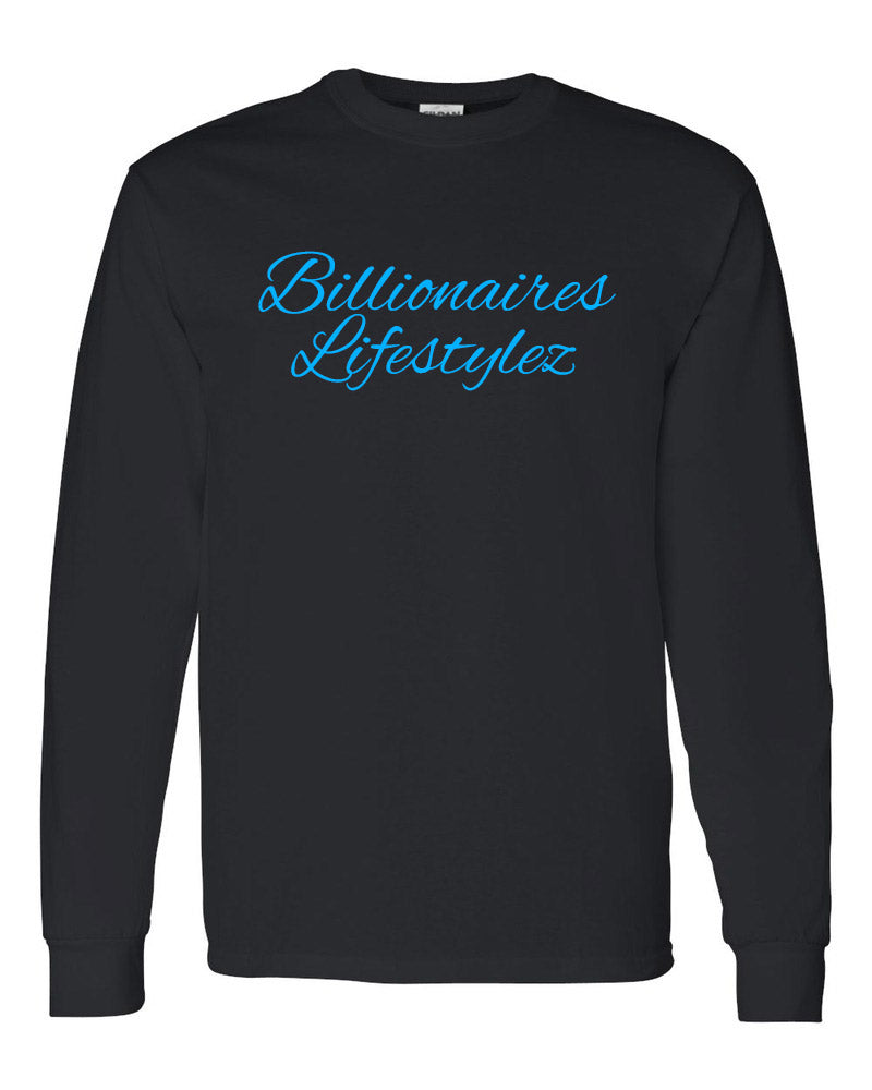 BILLIONAIRES LIFESTYLEZ LONG SLEEVE T-SHIRT (BLACK & BLUE)