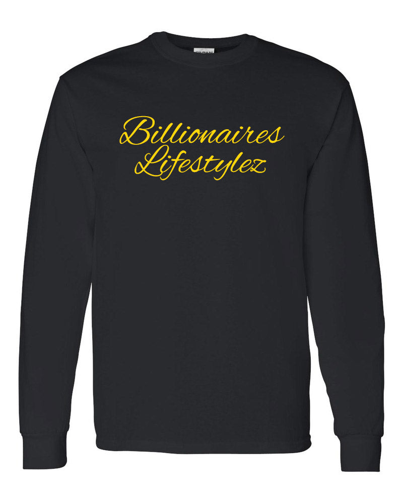 BILLIONAIRES LIFESTYLEZ LONG SLEEVE T-SHIRT (BLACK & GOLD)