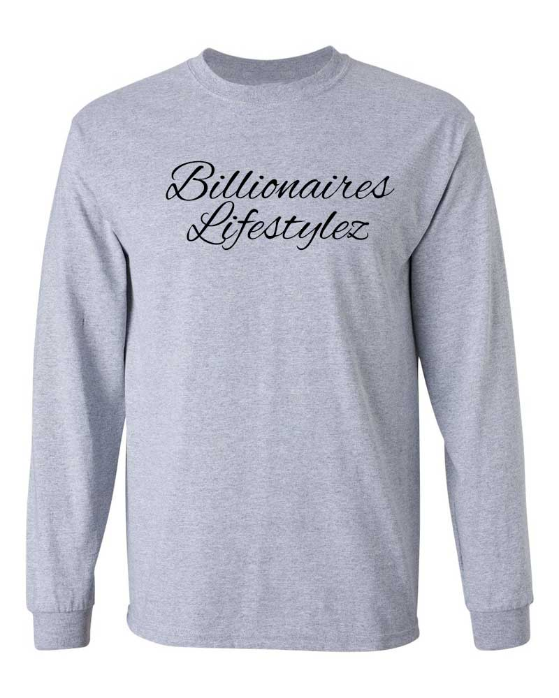 BILLIONAIRES LIFESTYLEZ LONG SLEEVE T-SHIRT (GREY & BLACK)