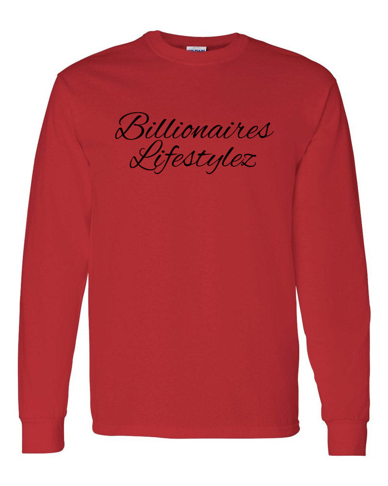 BILLIONAIRES LIFESTYLEZ LONG SLEEVE T-SHIRT (RED & BLACK)