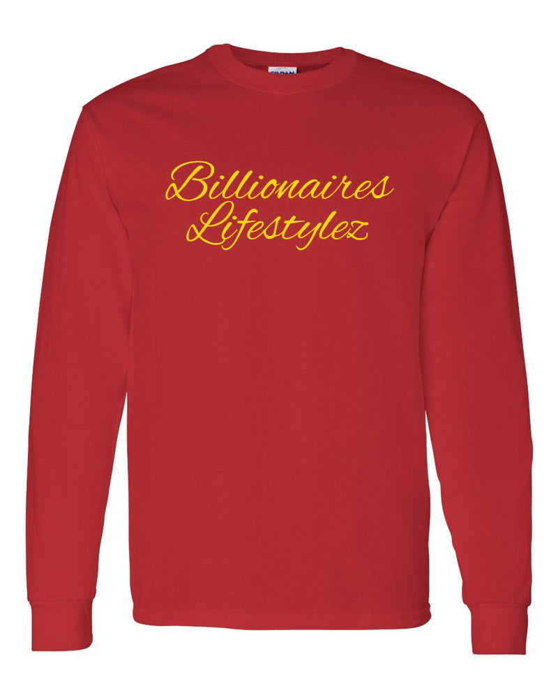 BILLIONAIRES LIFESTYLEZ LONG SLEEVE T-SHIRT (RED & GOLD)