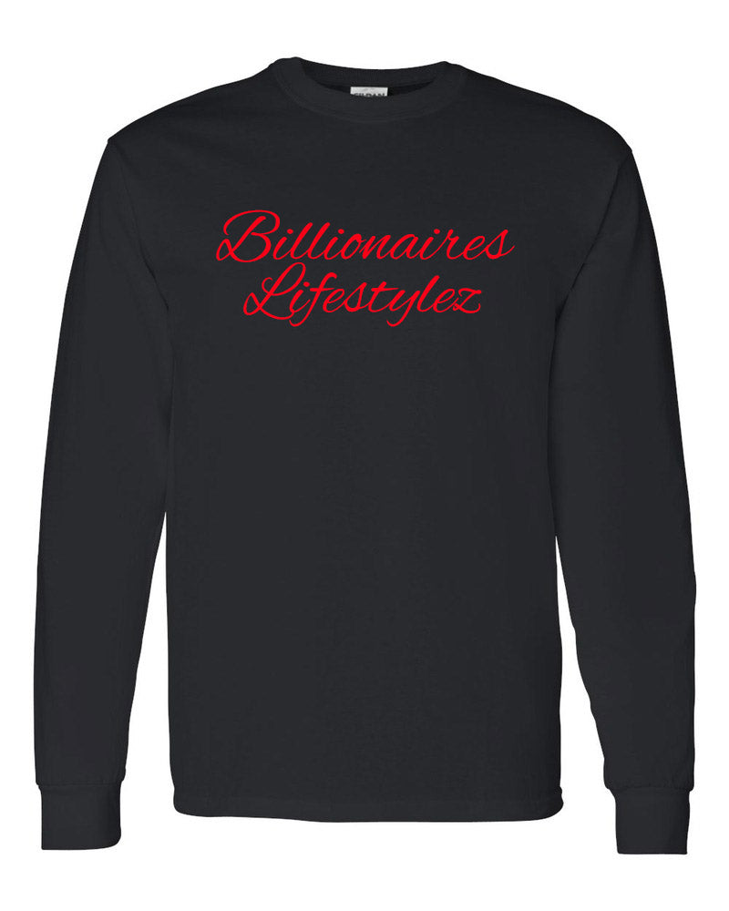 BILLIONAIERS LIFESTYLEZ LONG SLEEVE T-SHIRT (BLACK & RED)