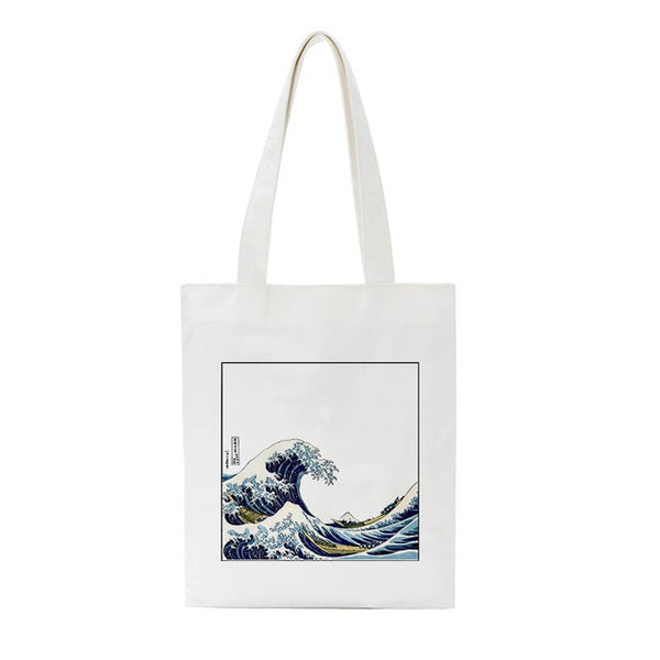 Wave Fun Print Casual Large Capacity Canvas Bag