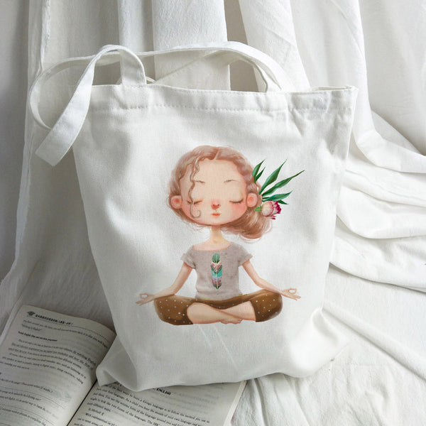Canvas Cartoon Girl Printed Shoulder Tote Beach Bag