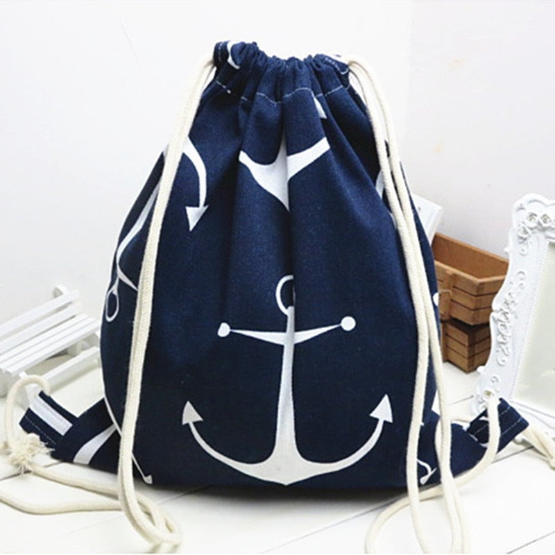 Cotton Linen Drawstring Travel Backpack