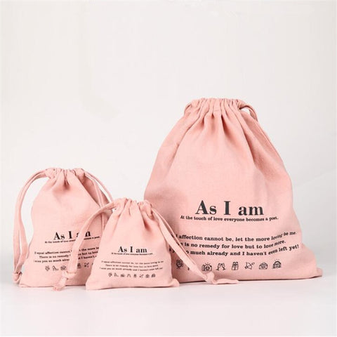 Washed Cotton Casual Tote Drawstring Bag