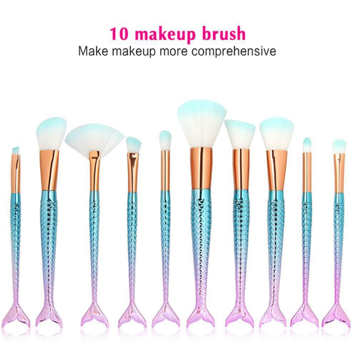 Mermaid Pro Fish tail Makeup Brush Set 10 pcs - Various Colours