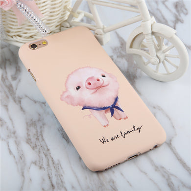Cute Animal Dog Frosted Case For Iphone 5 5s SE 6 6S 7 Plus Phone Cases Coque Cartoon Pig Rabbit Hard PC Matte Capa Shell Fundas - i love my pet pig