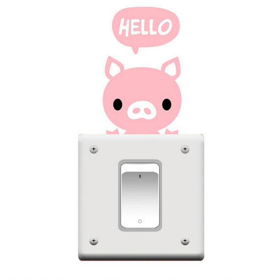 5PCS/Lot Hello Pig PVC Wall Stickers Switch Stickers on the Walls Vintage Decoration DIY Home Decor Wallpaper for Kids Room - i love my pet pig