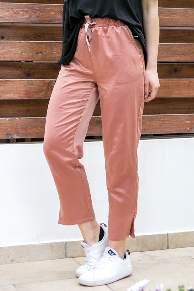 NA-KD Satin Pants Terracot