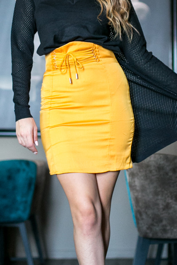 Yellow skirt high waist