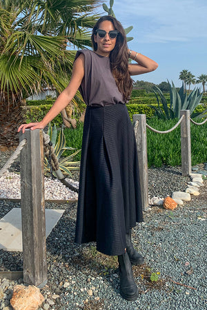 Sun Sea & Roses – Harmonia High Waist Long Skirt Black