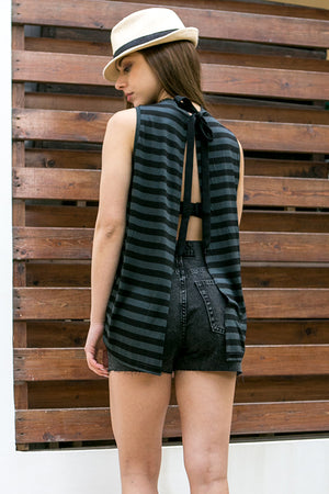 Cheap Monday - Choice Force Stripe Tank Off Black