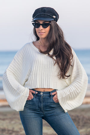 NA-KD - Batwing Ribbed Knitted Sweater White