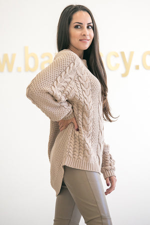 NA-KD - Cable Knitted Ribbed Sleeve Sweater Beige
