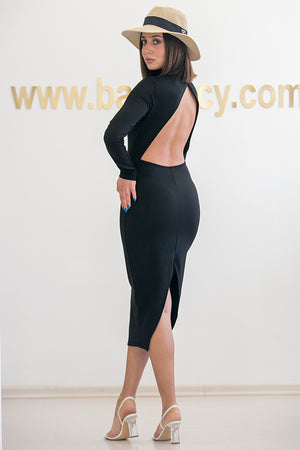 NA-KD - Cut Out Back Long Sleeve Midi Dress Black