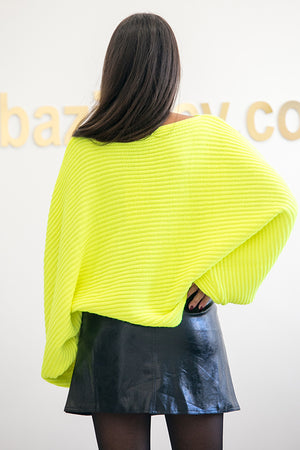 NA-KD - Ribbed Batwing Sweater Yellow