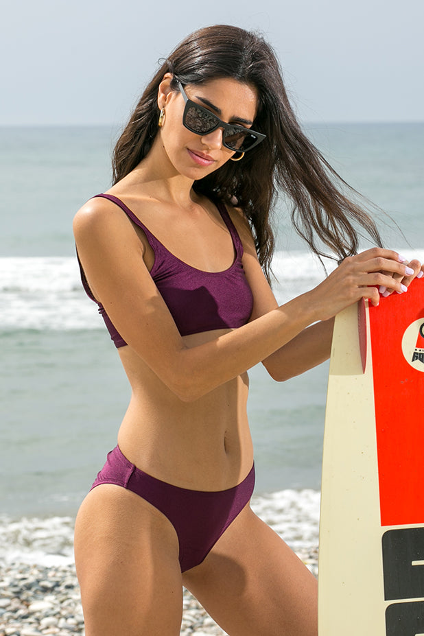 NA-KD - Sporty Bikini Top Dark Purple