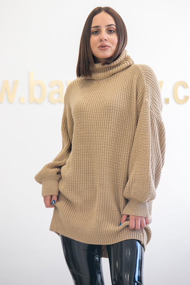 NA-KD - Oversized High Neck Long Knitted Sweater Beige