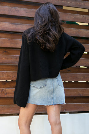 NA-KD - Cropped Long Sleeve Knitted Sweater Black