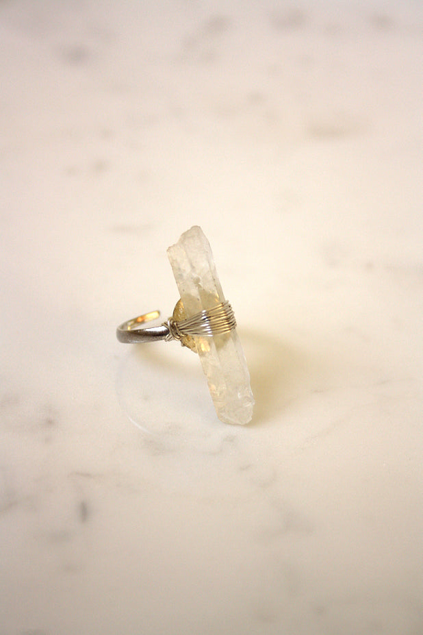 Native Riot - Oracle Clear Quartz Ring Silver