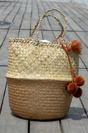 Queencii - Mia Pom Pom Beach Straw Tote Bag Beige Brown