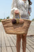 Queencii – Ella Pom Pom Beach Straw Tote Bag Beige Multicolor