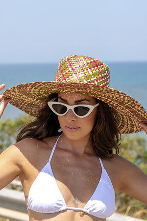 Queencii - Emily Beach Straw Hat Olive Multicolor