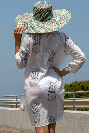 Queencii - Kaftan Pineapple White Black
