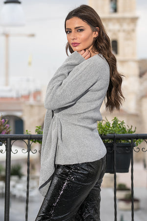 Queencii – Milano Wrap Sweater Grey