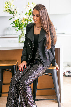 NA-KD - Sparkle It Up Trousers Dark Silver